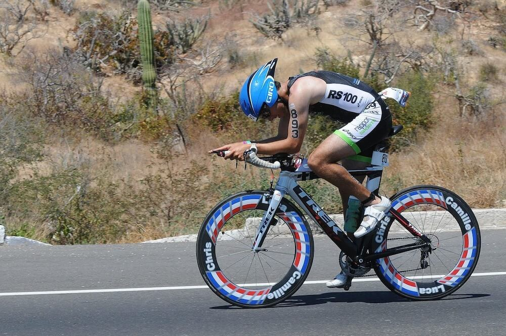 Triathlete with a time trial helmet