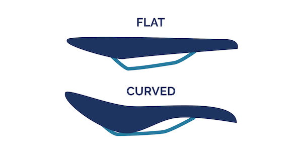 flat vs curved bike saddle from the side