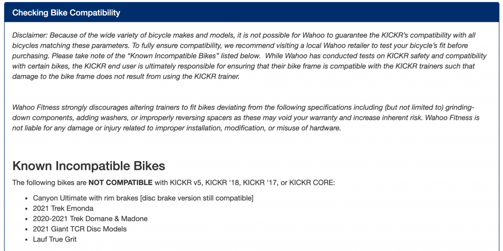 Wahoo Bike Trainer Compatibility Disclaimer