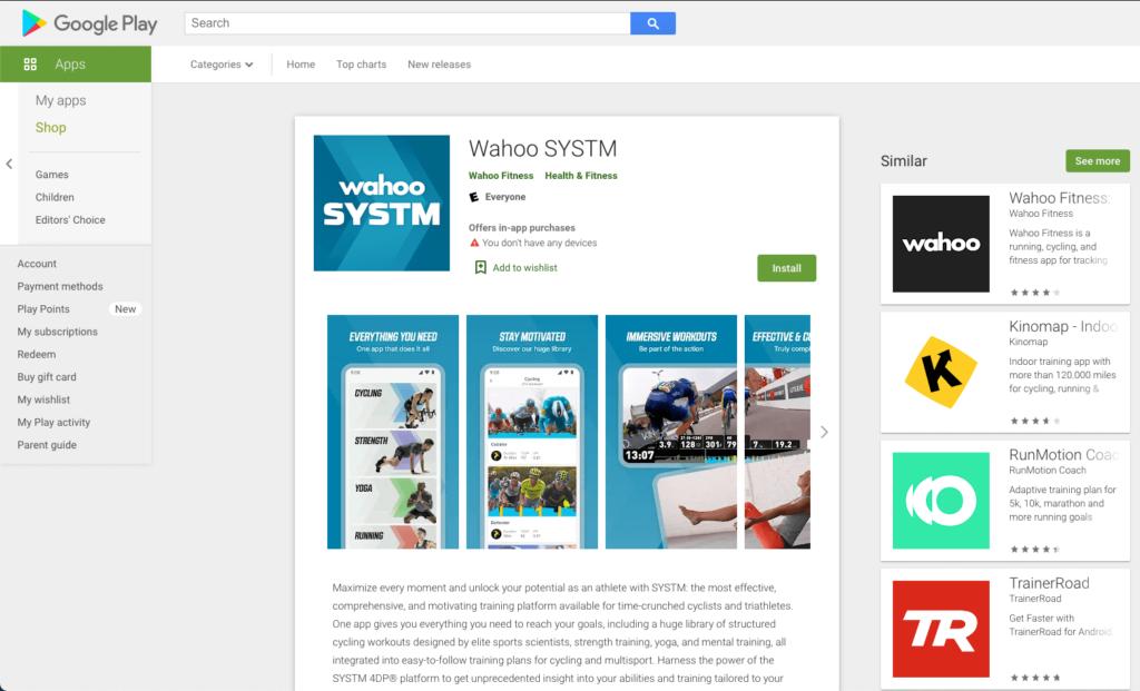 Wahoo SYSTM Google Play