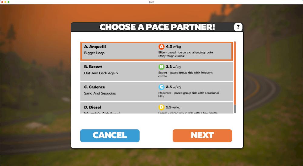Zwift Pace Partners