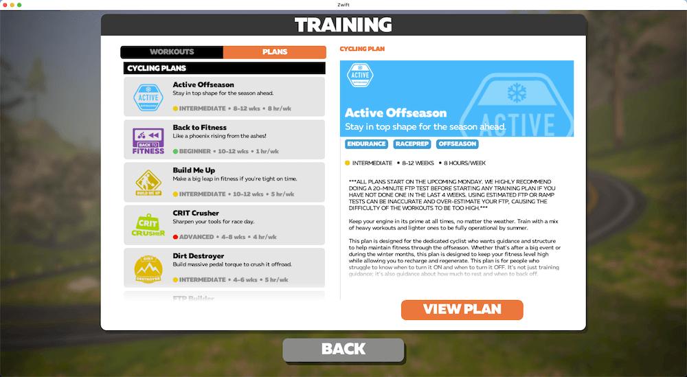Zwift Training Plans