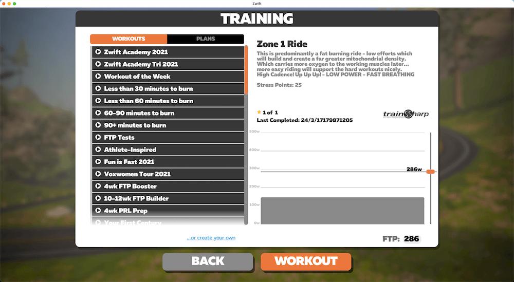 Zwift Workouts
